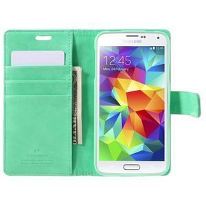Bluemoon PU kožené puzdro pre Samsung Galaxy S5 - azúrové - 6