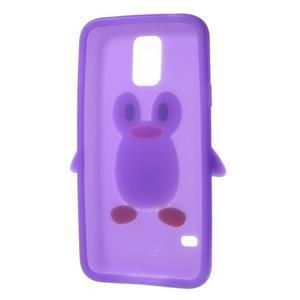 Penguin silikonový obal pre Samsung Galaxy S5 - fialový - 6