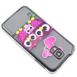 Transparentní gelový obal na mobil Samsung Galaxy S5 mini - soví rodinka - 6