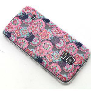 Transparentní gelový obal na mobil Samsung Galaxy S5 mini - květiny a sloni - 6