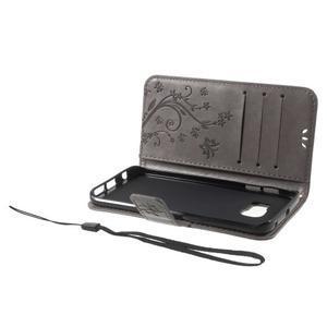 Butterfly PU kožené pouzdro na mobil Samsung Galaxy S6 Edge - šedé - 6