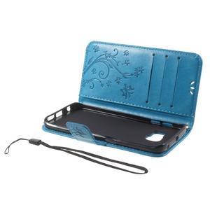 Butterfly PU kožené puzdro pre mobil Samsung Galaxy S6 Edge - modré - 6