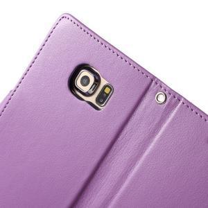Richdiary PU kožené puzdro pre mobil Samsung Galaxy S6 Edge - fialové - 6