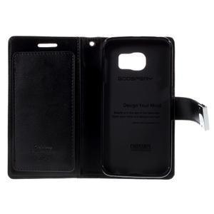 Richdiary PU kožené puzdro pre mobil Samsung Galaxy S6 Edge - čierne - 6