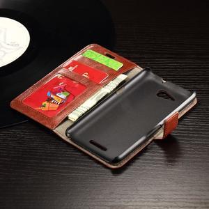 Horse PU kožené puzdro pre mobil Sony Xperia E4g - hnedé - 6