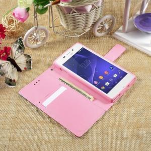 Standy peněženkové pouzdro Sony Xperia M2 Aqua - fialové květy - 6