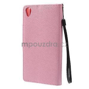 Ružové Peňaženkové puzdro pre Sony Xperia Z3 - 6