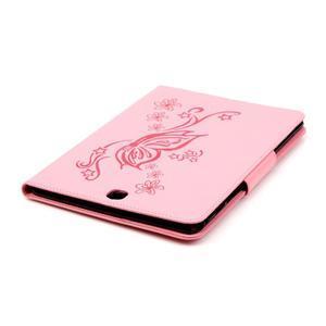 Butterfly PU kožené puzdro pre Samsung Galaxy Tab A 9.7 - ružové - 6