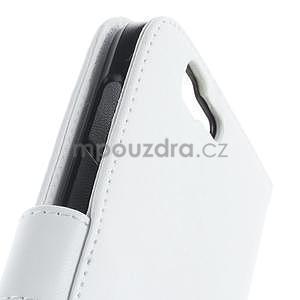 Kožené peňaženkové puzdro na Huawei Ascend G7 - biele - 6