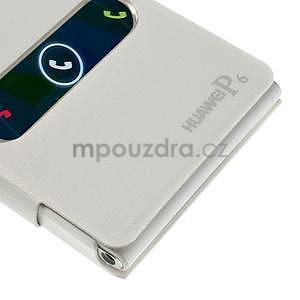 Kožené puzdro s okýnky na Huawei P6 - biele - 6
