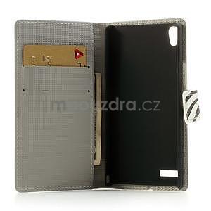 Peňaženkové puzdro na Huawei Ascend P6 - zebra - 6
