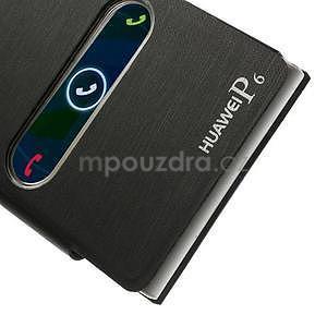 Kožené puzdro s okýnky na Huawei P6 - čierné - 6