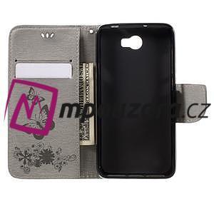 Butterfly PU kožené puzdro na mobil Huawei Y5 II - šedé - 6