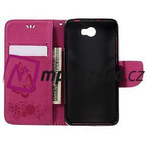 Butterfly PU kožené puzdro na mobil Huawei Y5 II - rose - 6
