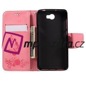 Butterfly PU kožené puzdro na mobil Huawei Y5 II - růžové - 6