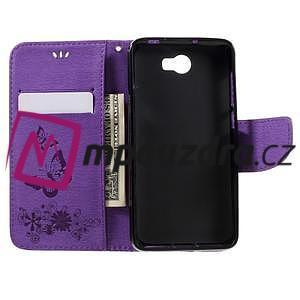 Butterfly PU kožené puzdro na mobil Huawei Y5 II - fialové - 6