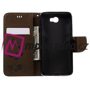 Butterfly PU kožené puzdro na mobil Huawei Y5 II - hnědé - 6