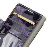 Peňaženkové puzdro s hadím motívom na Huawei Y6 II Compact - fialové - 6/7