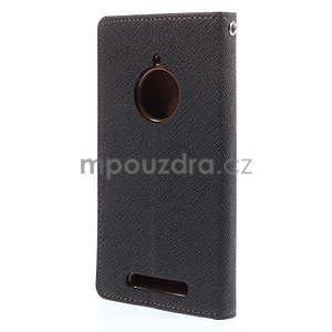 Kožené peňaženkové puzdro na Nokia Lumia 830 - čierné/hnedé - 6