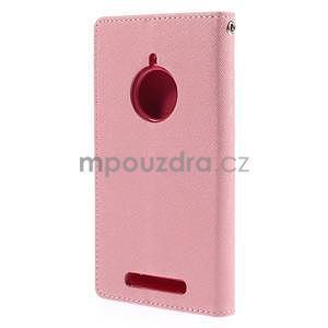 Kožené peňaženkové puzdro na Nokia Lumia 830 - růžové - 6
