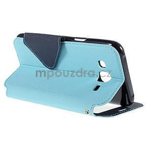 PU kožené puzdro s okienkom pro Samsung Galaxy J5 - svetlo modré - 6
