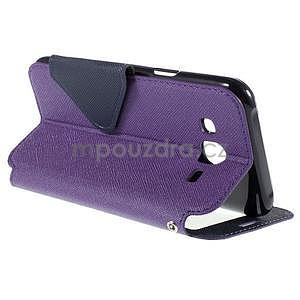 PU kožené puzdro s okienkom pro Samsung Galaxy J5 - fialové - 6