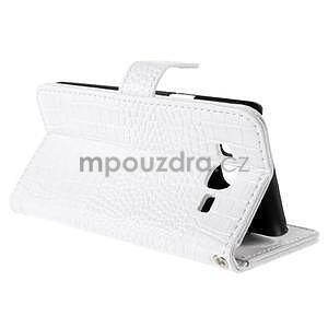 PU kožené pouzdro s imitací krokodýlí kůže Samsung Galaxy J5 - bílé - 6