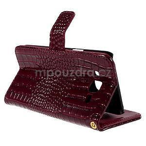 PU kožené puzdro s imitací krokodýlí kože Samsung Galaxy J5 - tmavo červené - 6