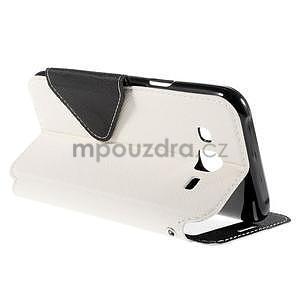 PU kožené puzdro s okienkom pro Samsung Galaxy J5 - biele - 6