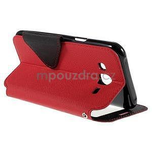PU kožené puzdro s okienkom pro Samsung Galaxy J5 - červené - 6