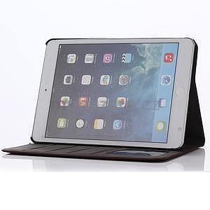 Koženkové puzdro s imitáciou dreva na iPad Mini 3, iPad Mini 2, iPad mini - tmavošedé - 6
