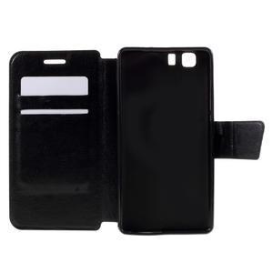 Peňaženkové PU kožené puzdro pre mobil Doogee X5 - čierne - 6