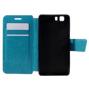 Peňaženkové PU kožené puzdro pre mobil Doogee X5 - modré - 6
