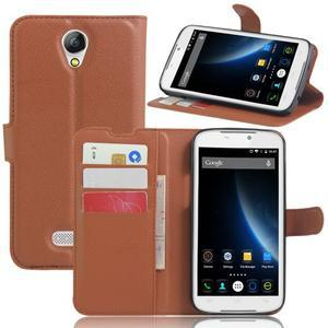 Peňaženkové puzdro pre mobil Doogee X6 - hnedé - 6