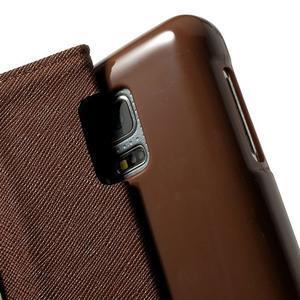 Diary PU kožené puzdro pre Samsung Galaxy S5 mini - čierne/hnedé - 6