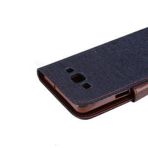 Jeans peňaženkové puzdro na Samsung Galaxy note 3 - černomodré - 6