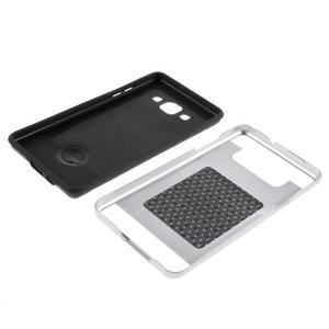 Hybridní gélové/plastové puzdro na Samsung Galaxy A5 - strieborné - 6