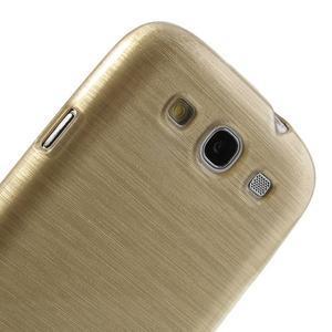 Brush gélový kryt pre Samsung Galaxy S III / Galaxy S3 - zlatý - 6