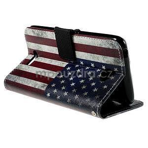 Koženkové puzdro pre mobil Sony Xperia E4 - US vlajka - 6