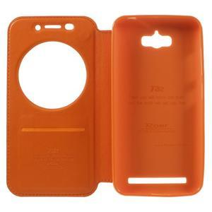 Luxusní puzdro s okienkom pre mobil Asus Zenfone Max - oranžové - 6