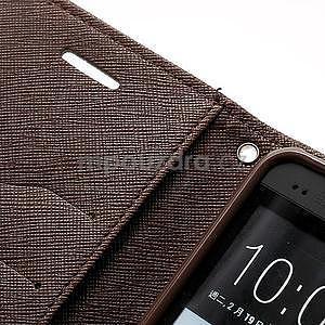 Peňaženkové kožené puzdro pre HTC One M7 - hnedé - 6