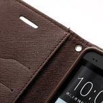 Peňaženkové kožené puzdro pre HTC One M7 - hnedé - 6/7
