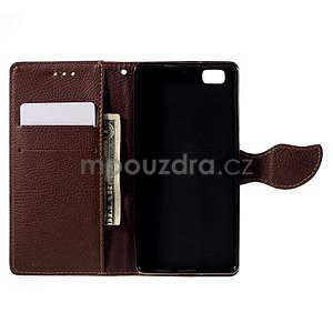 Zapínací PU kožené pouzdro na Huawei P8 Lite - červené - 6