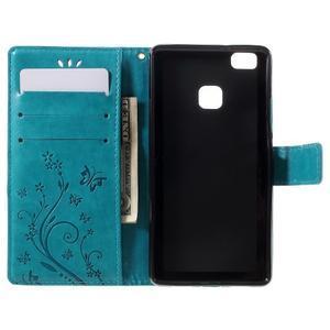 Butterfly PU kožené puzdro na Huawei P9 Lite - modré - 6