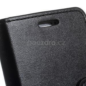 Čierné kožené peňaženkové puzdro pre Samsung Galaxy A3 - 6