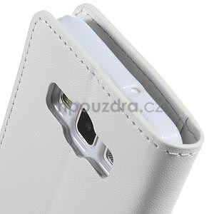 Bílé kožené peňaženkové puzdro pre Samsung Galaxy A3 - 6