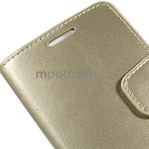 Zlaté kožené peňaženkové puzdro na Samsung Galaxy A3 - 6