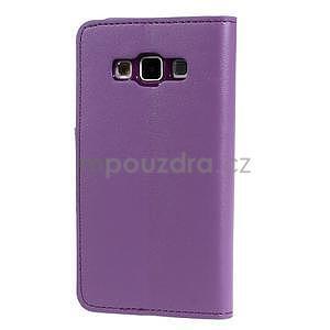 Fialové kožené peňaženkové puzdro na Samsung Galaxy A3 - 6