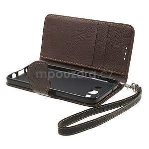 Čierné/hnedé kožené puzdro pre Samsung Galaxy A3 - 6