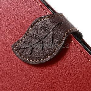 Červené/hnedé kožené puzdro pre Samsung Galaxy A3 - 6